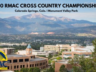 Campus photo with Pikes Peak in the background, with text for the RMAC cross country championships