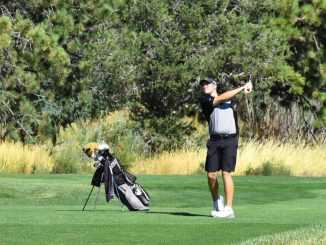 Tanner Comes after hitting a golf ball from the fairway