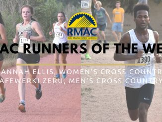 Action photos of cross country runners with text for the RMAC runner of the week award