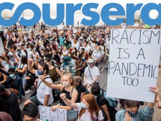 A graphic illustration with the Coursera logo with a picture of protests in the background