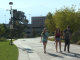 Students walking on the pedestrian spine