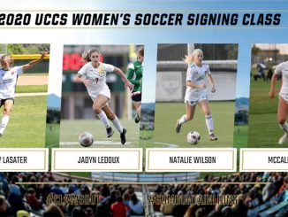 Four action photos of women's soccer student-athletes on signing day