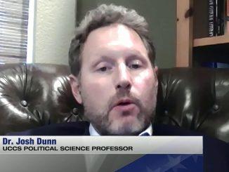 Screenshot of Josh Dunn doing a TV interview from home