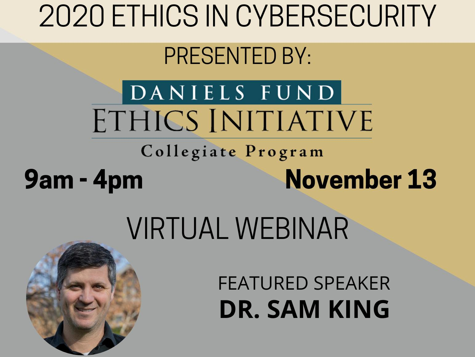 Promotional graphic for the 2020 Ethics in Cybersecurity virtual event