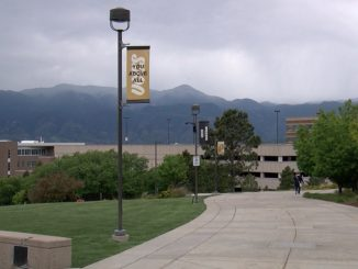 A view of the pedestrian spine looking west to the mountains