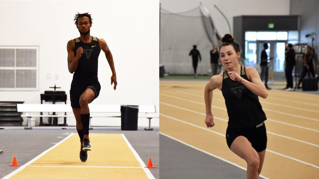 Peter Ackah running down a runway for a jump and Katie Novess running to clear the high jump bar