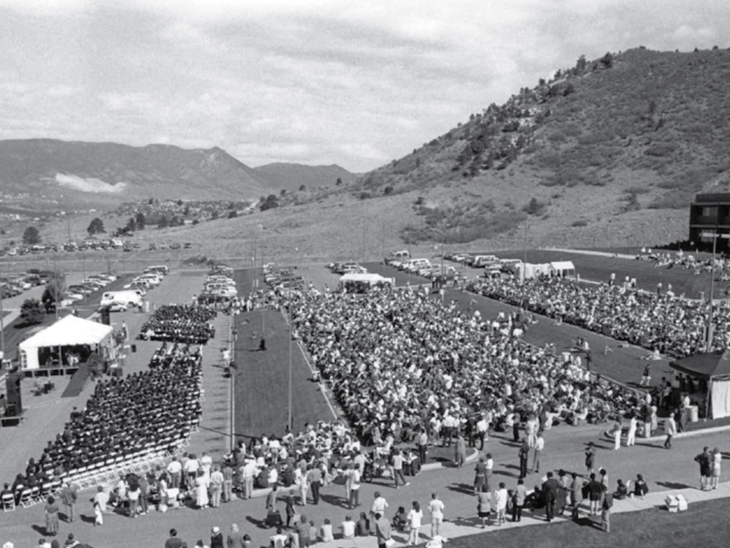 The 1995 spring commencement ceremony on the UCCS campus