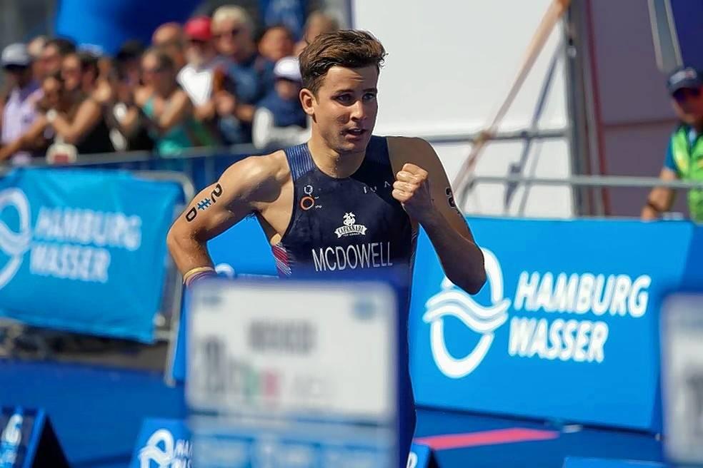 Kevin McDowell finishing a triathlon