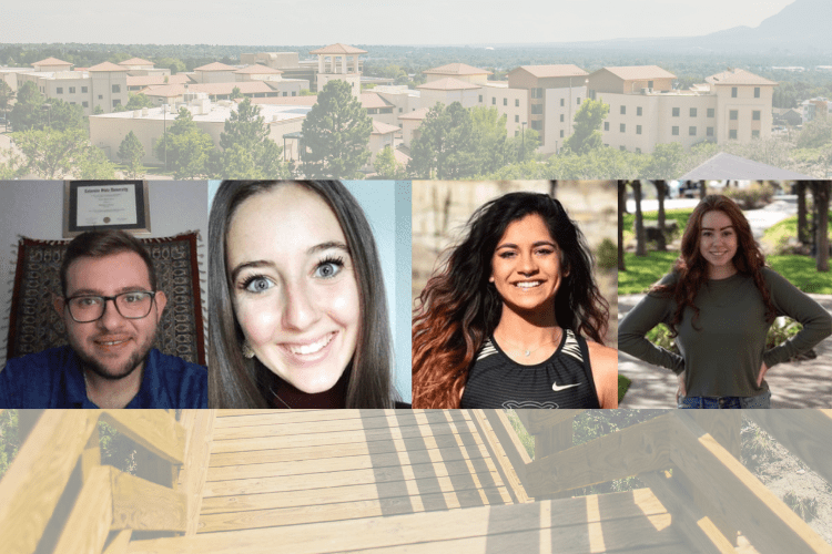 Four headshots of UCCS students with a campus picture in the background