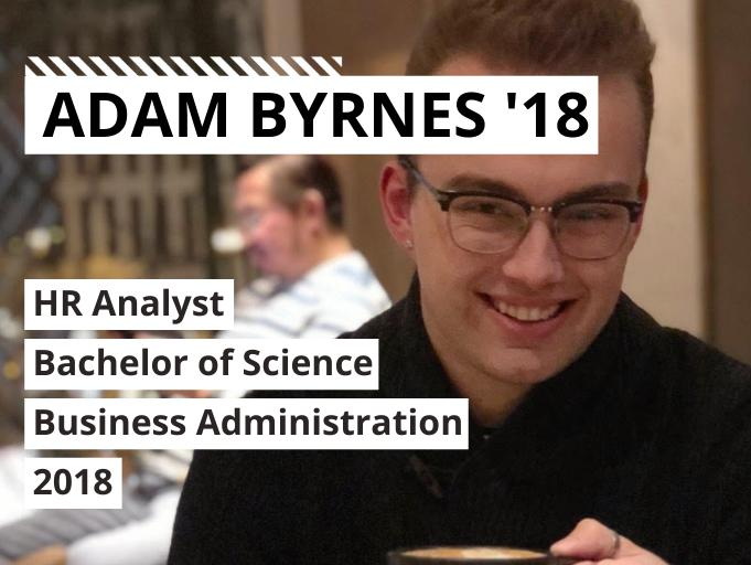 Headshot of Adam Byrnes with text