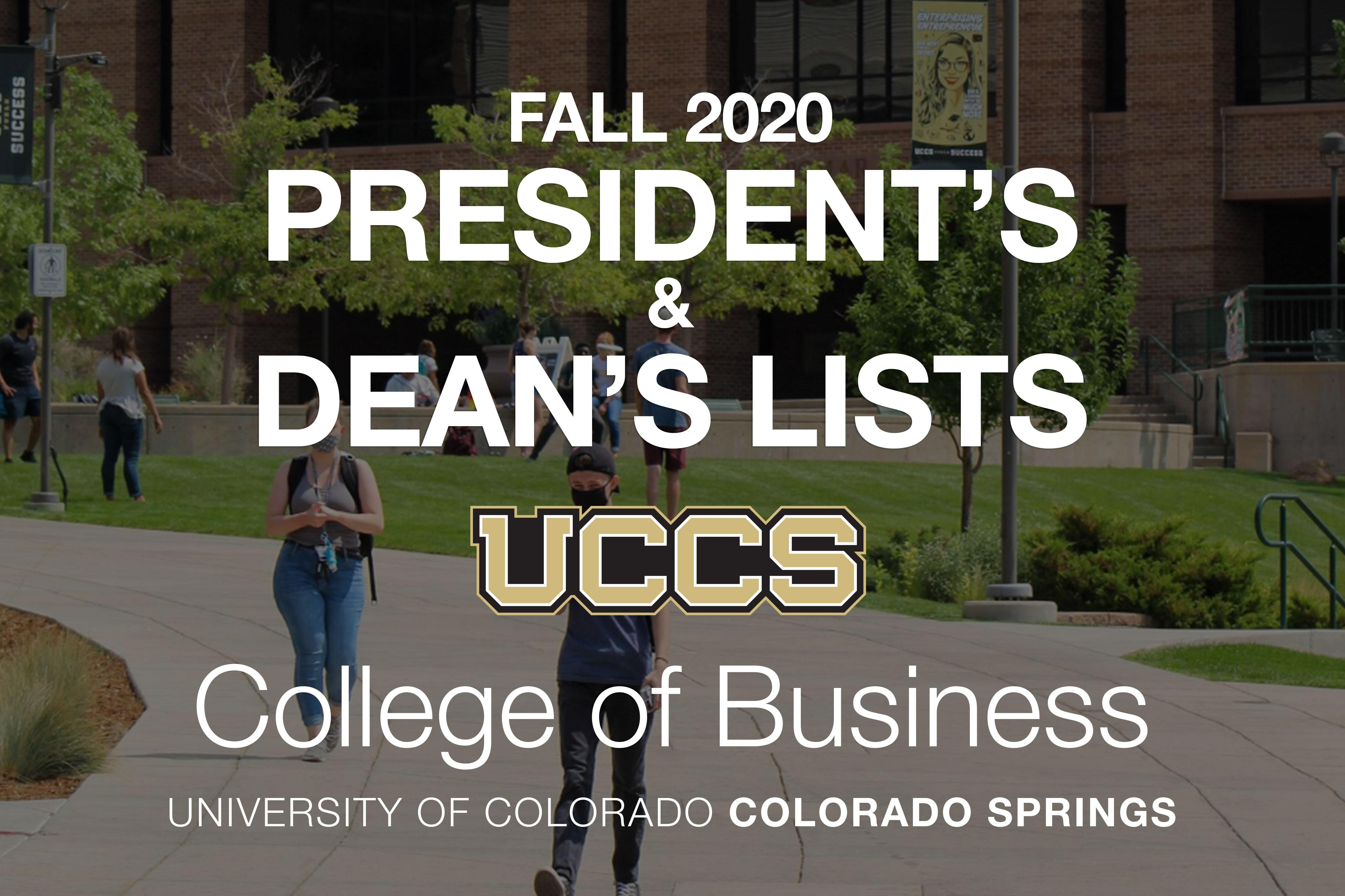 Graphic for the fall 2020 College of Business President's and Dean's List honorees