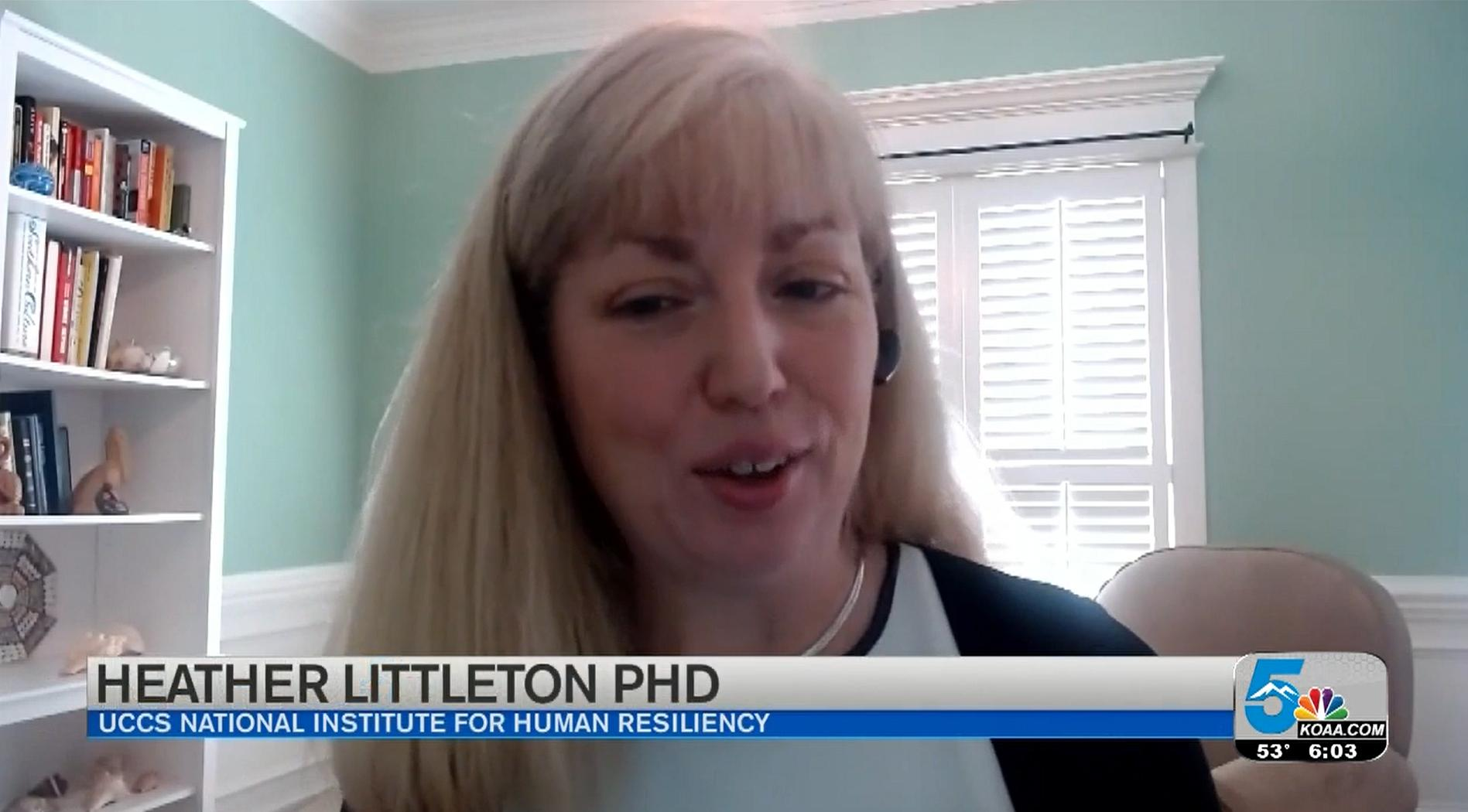 Screenshot of Heather Littleton during a TV interview from home
