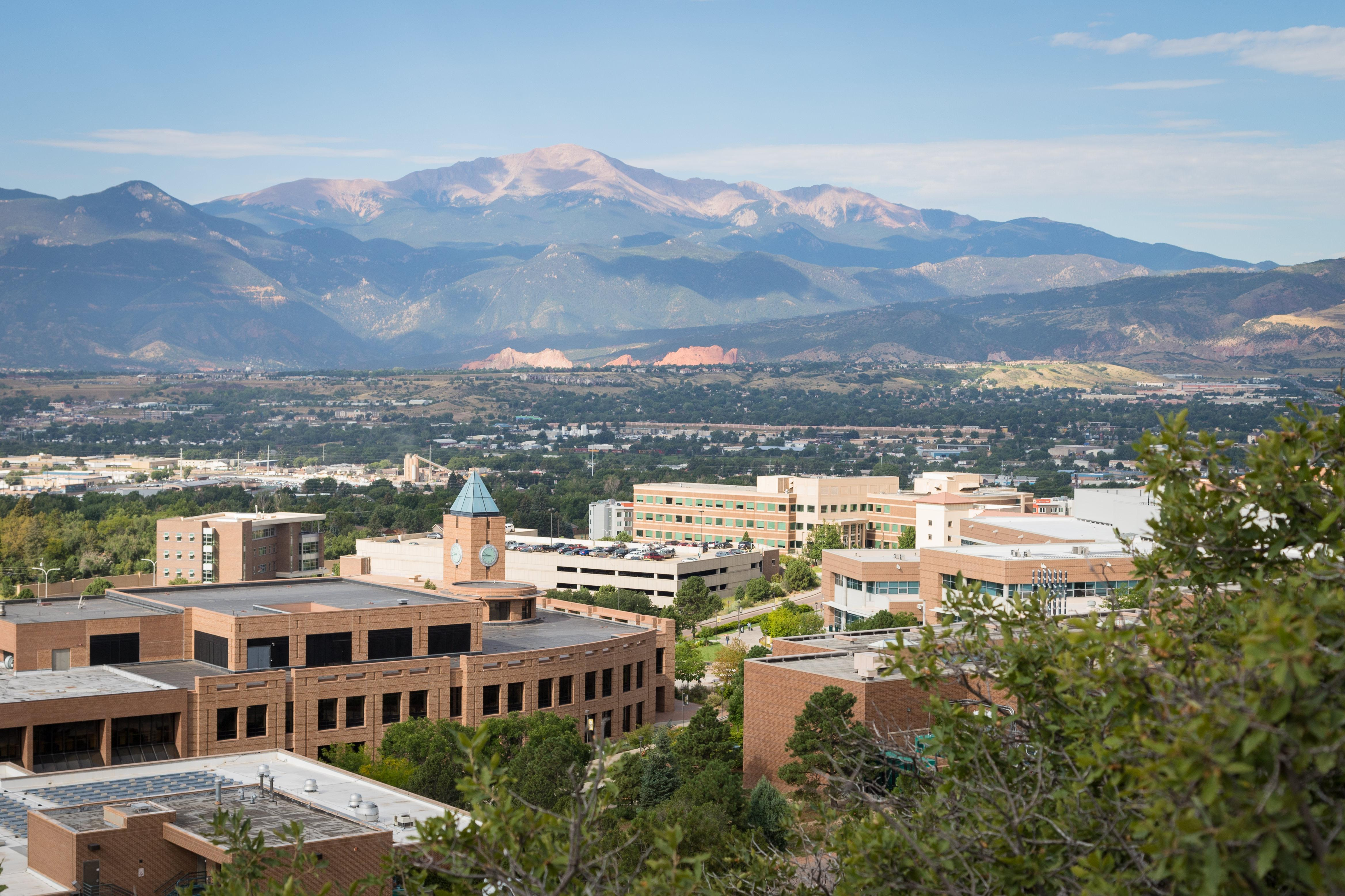 a photo overlooking campus and the broader colorado springs community