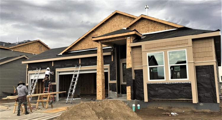 The front of a home under construction
