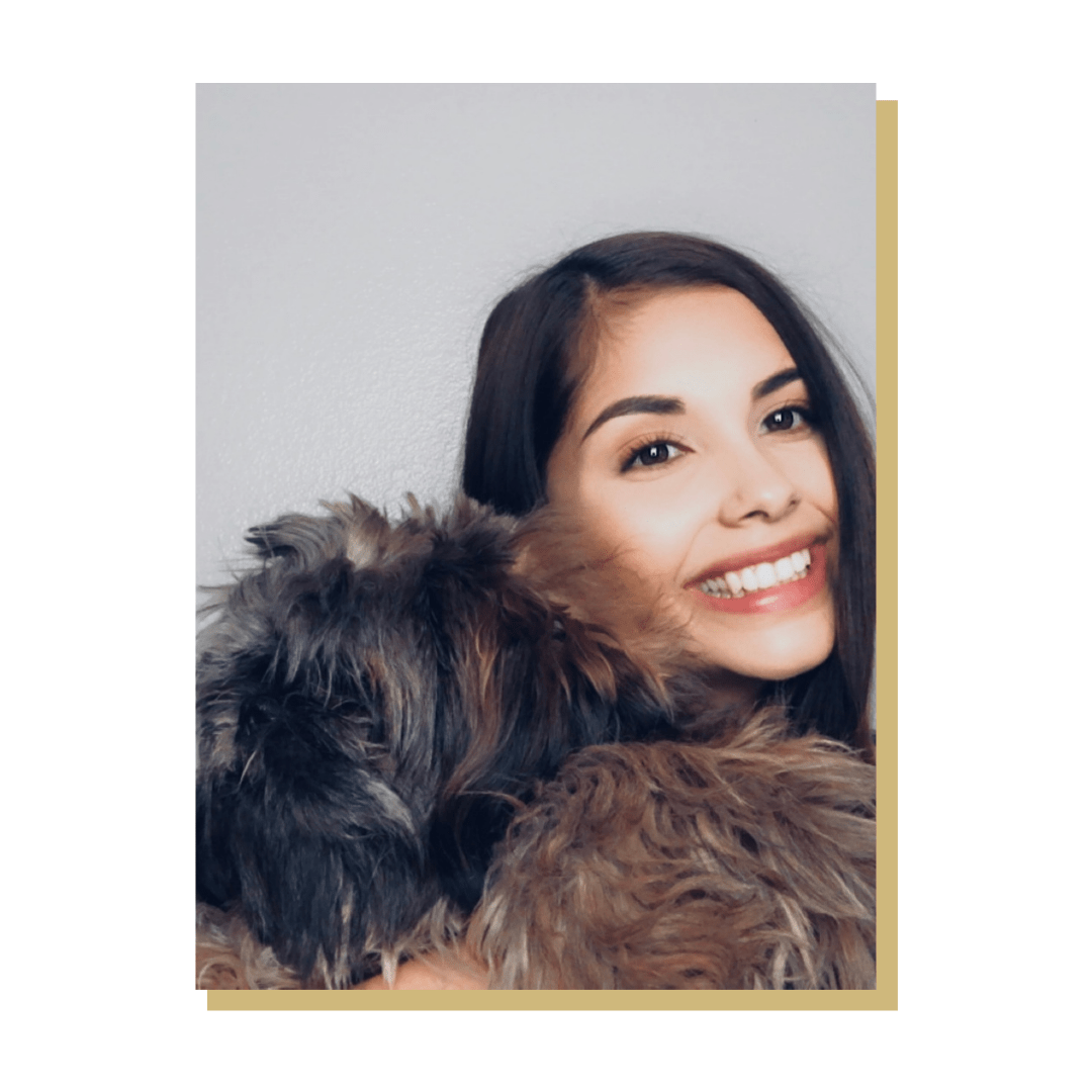 Photo of person with her dog