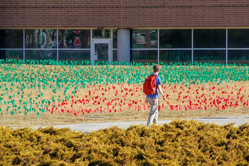 A student walks staring at flags