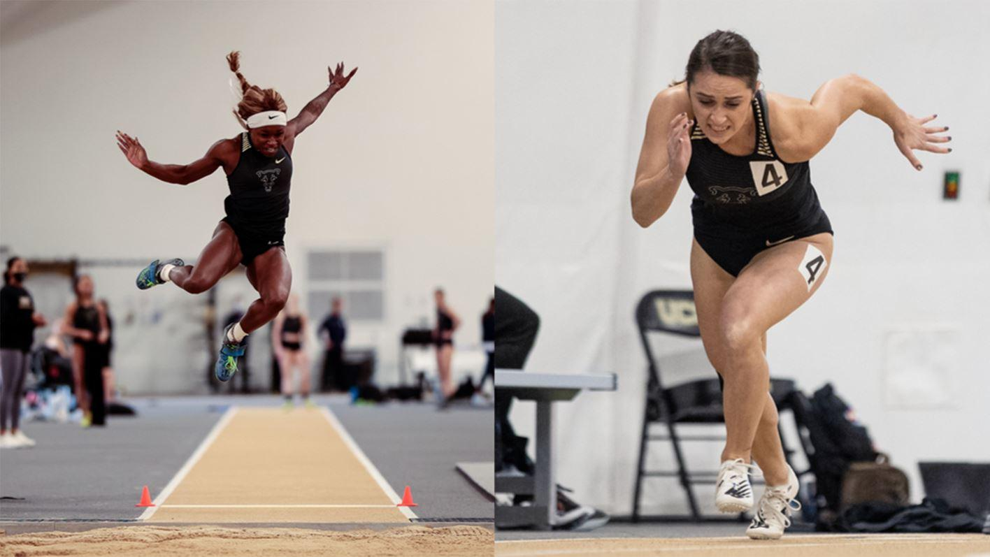 Side-by-side action photos of Hannah Meek in midair during a jump and Kayla Zink sprinting out of the starting blocks