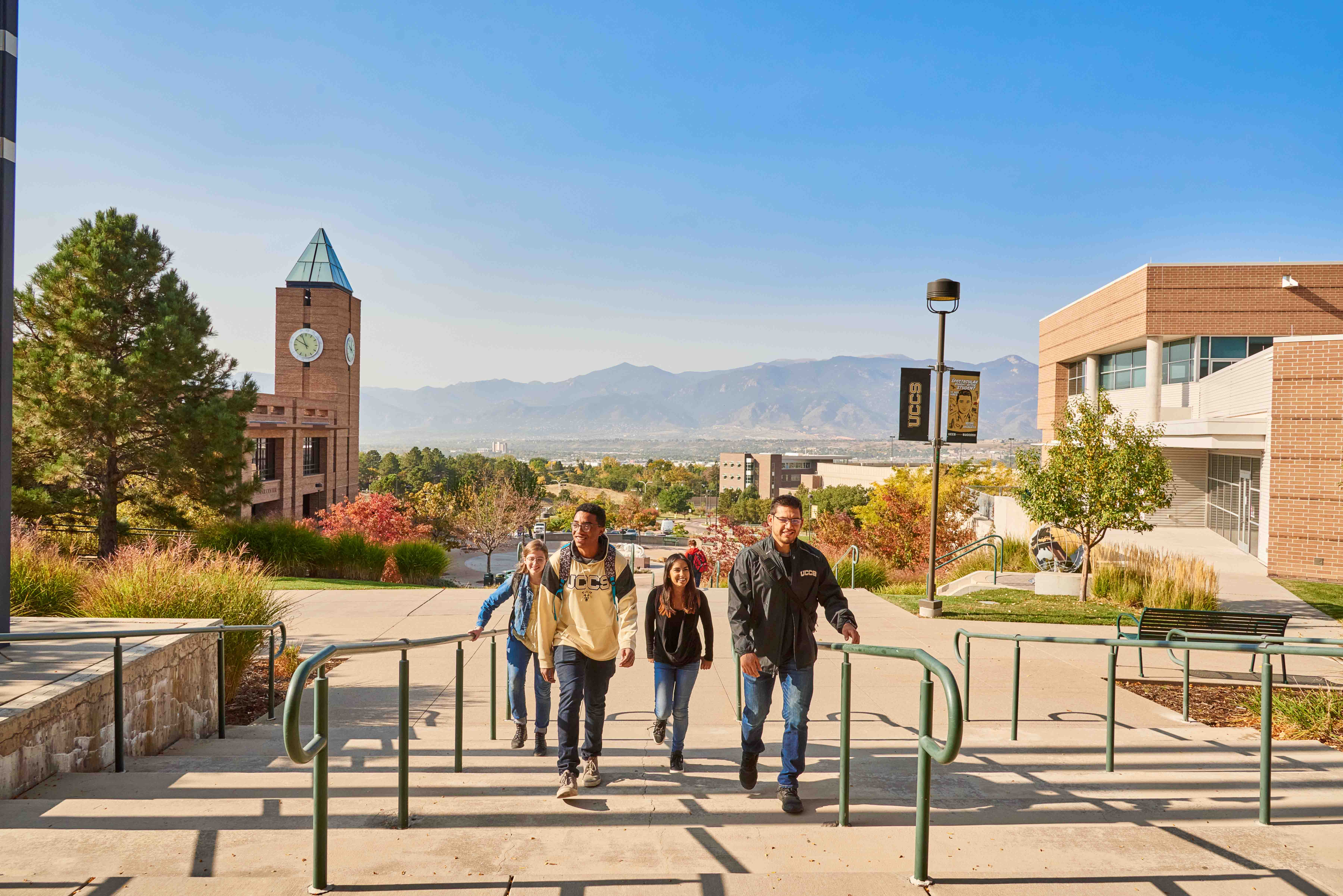UCCS Campus and students walking up stairs