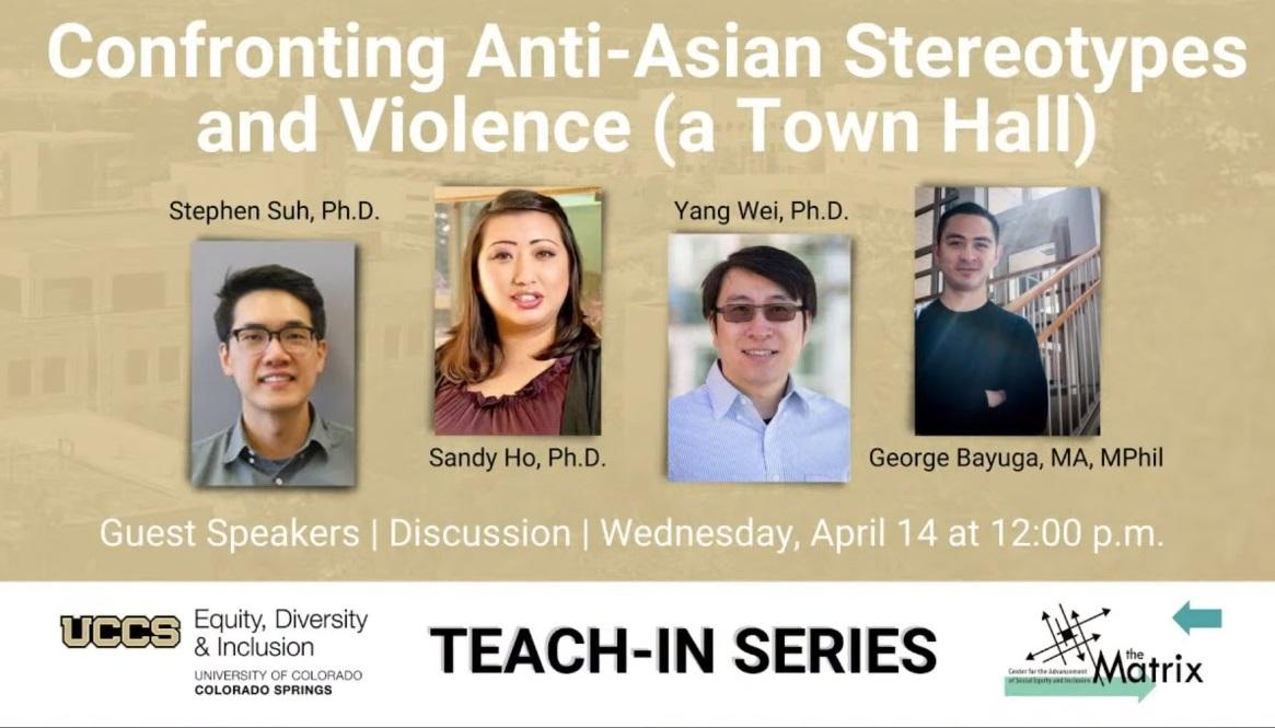 "a photo that shows headshots of four panelists and says ""Confronting anti-asian stereotypes and violence (a town hall)"""