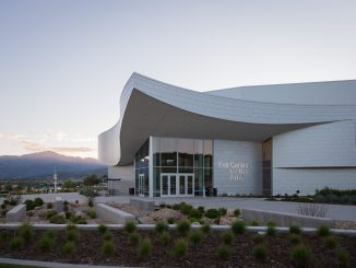 Ent Center for the Arts at sunset with Pikes Peak in the background. Photo by Jeffrey M Foster