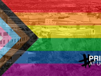 Progress pride flag, rainbow colors overlayed on image of campus