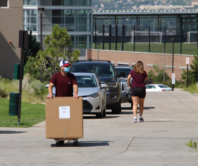 One person walks up a slight incline pushing a box.
