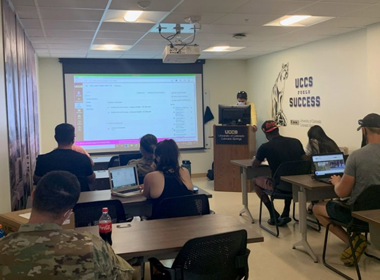 Students study in Ft Carson classroom